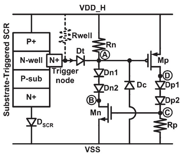 New design of 2 × VDD-tolerant power-rail ESD clamp circuit for mixed-voltage IO buffers in 65-nm CMOS technology