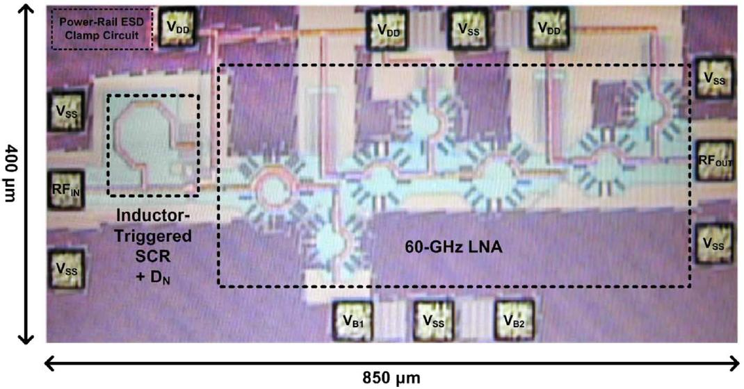 ESD protection design for 60-GHz LNA with inductor-triggered SCR in 65-nm CMOS process